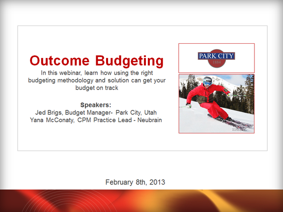 Budgeting for Outcome Webinar with Park City, UT